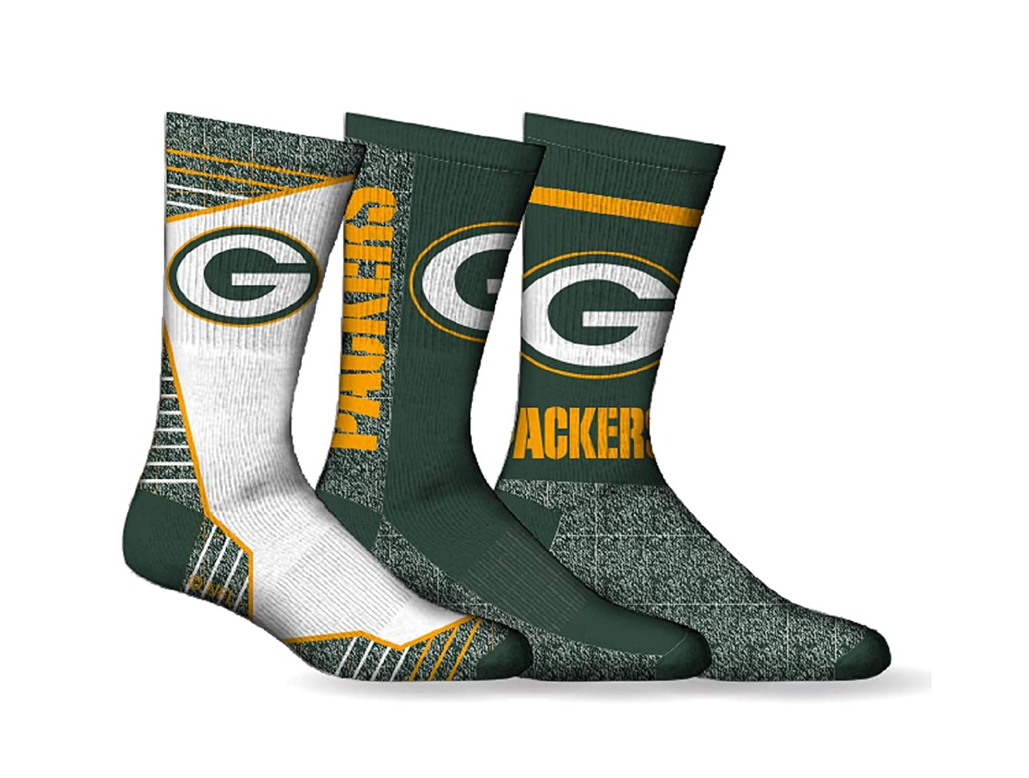 Men's NFL Green Bay Packers 3-Pack Sport Crew Socks Gertx