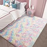 AROGAN Soft Rainbow Area Rugs for Girls Room 4x5.9 Feet, Fluffy Girls Bedroom Rugs, Princess Rug, Cute Colorful Carpet for Ki