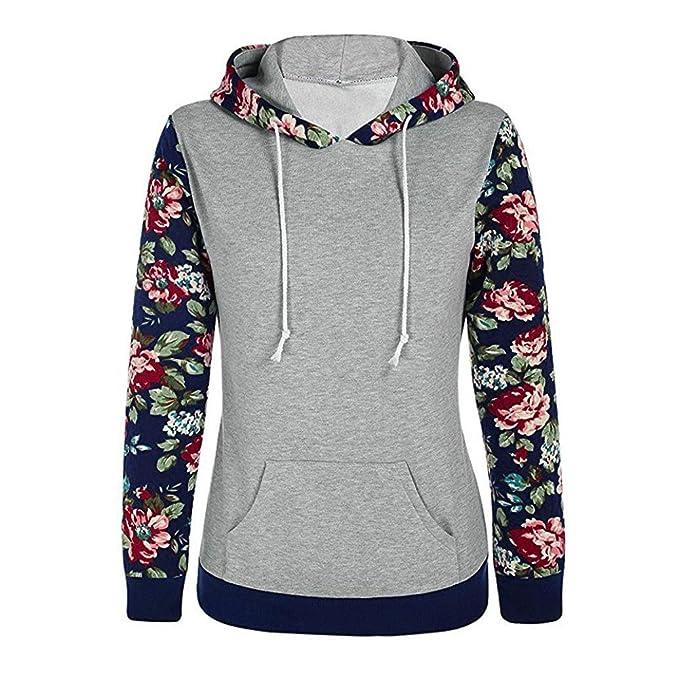 Mujeres camisetas deporte mujer manga larga baratas Sannysis Sudaderas con capucha bolsillo para mujer impresión de floral: Amazon.es: Ropa y accesorios