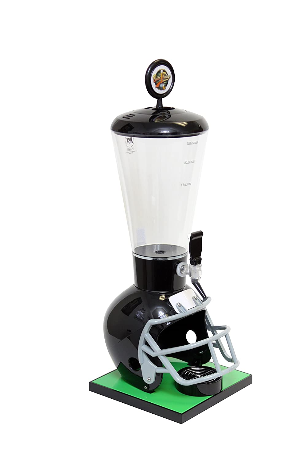 Beer Tubes Black Football Helmet Beverage Tower Dispenser with Regular Tap, 128 oz. Super Tube, FBK-ST-R