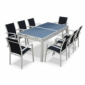 Alice\'s Garden Salon de jardin table extensible - Détroit blanc/Gris ...