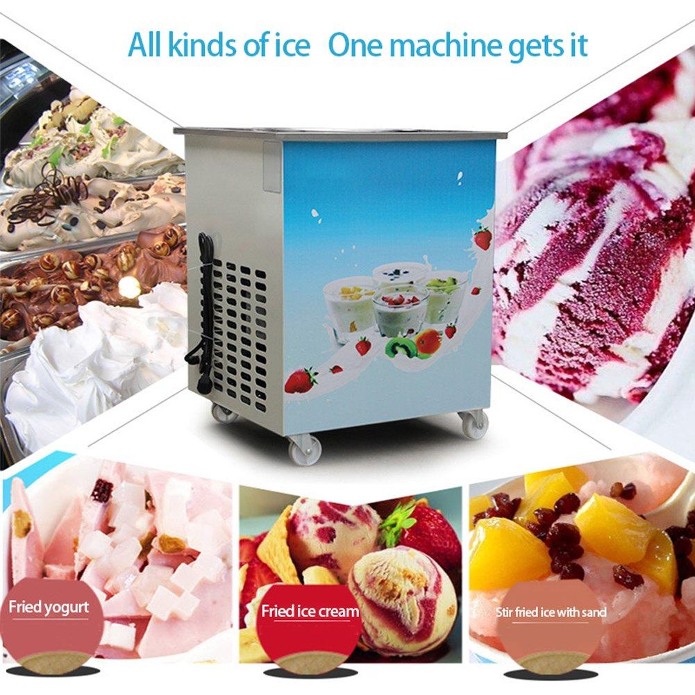 "Fried Ice Cream Machine, 14.2"" Single Round Pan Roll Ice Cream Maker Commercial Fried Milk Yogurt Machine Fast Ship from USA, 110V"