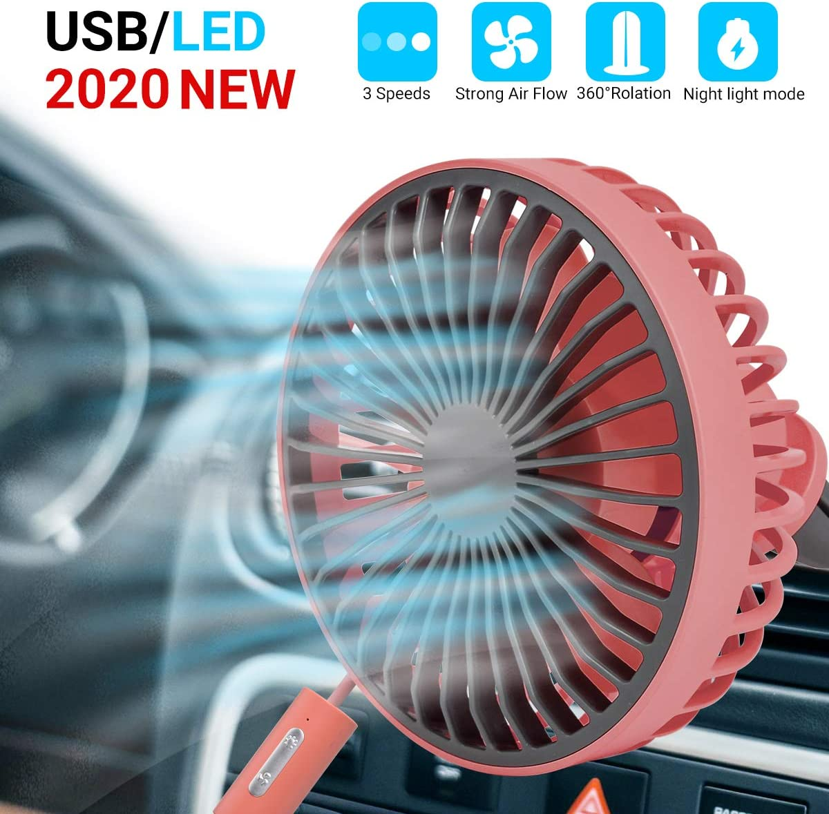 Red for Car A//C Vent Home Office Car Cooling Fan Adjustable 3-Speed with Night Light Mode USB Mini Car Fan