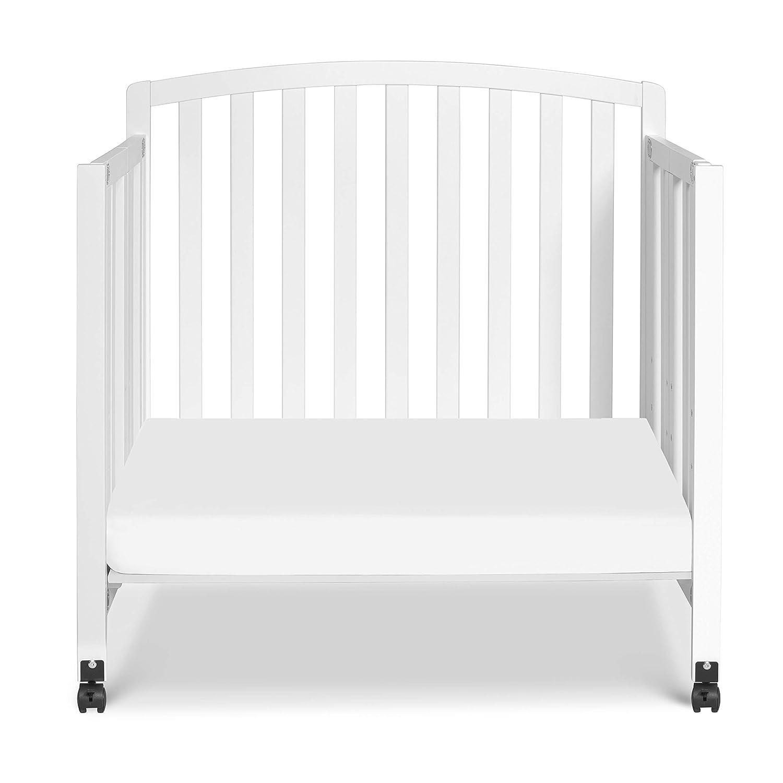 White with Complete Slumber Mini Crib Mattress Davinci Dylan Folding Portable 3-in-1 Mini Crib and TwinBed