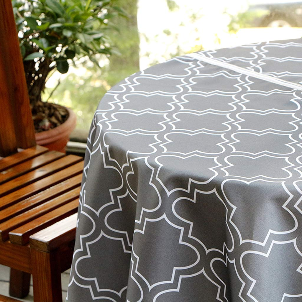 BTSKY Durable Patio Outdoor Umbrella Tablecloth with Zipper and Umbrella Hole, Water and Stain Resistant Round Tablecloth 60 inch Grey