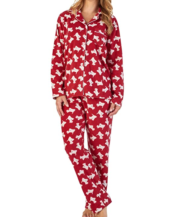 Slenderella Ladies Soft Microfleece Pyjamas Button Up Top   PJ Bottoms ( Floral or Scottie Dog)  Amazon.co.uk  Clothing 1e4073c84