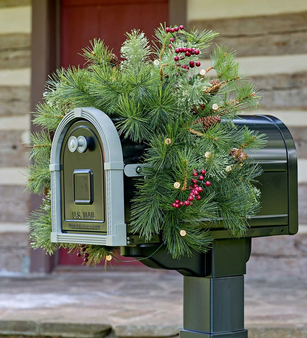 Lighted Holiday Mailbox Swag with Battery-Operated Auto Timer by Plow & Hearth