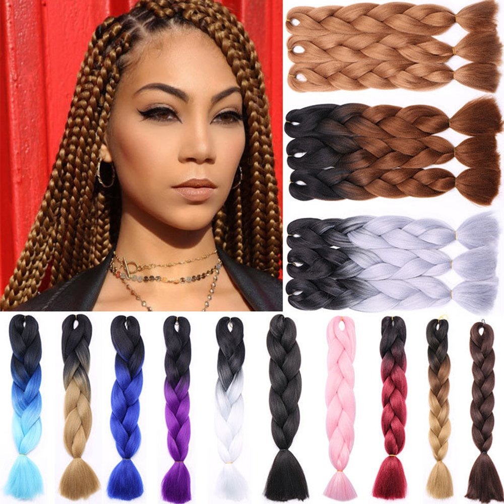 Jumbo Braiding Hair 5pcs/lot Jumbo Braid full head Hair Extensions Resistant High Temperature Kanekalon Fiber Ombre Colors For Crochet Braids Hair for Africa Women black+white S-noilite