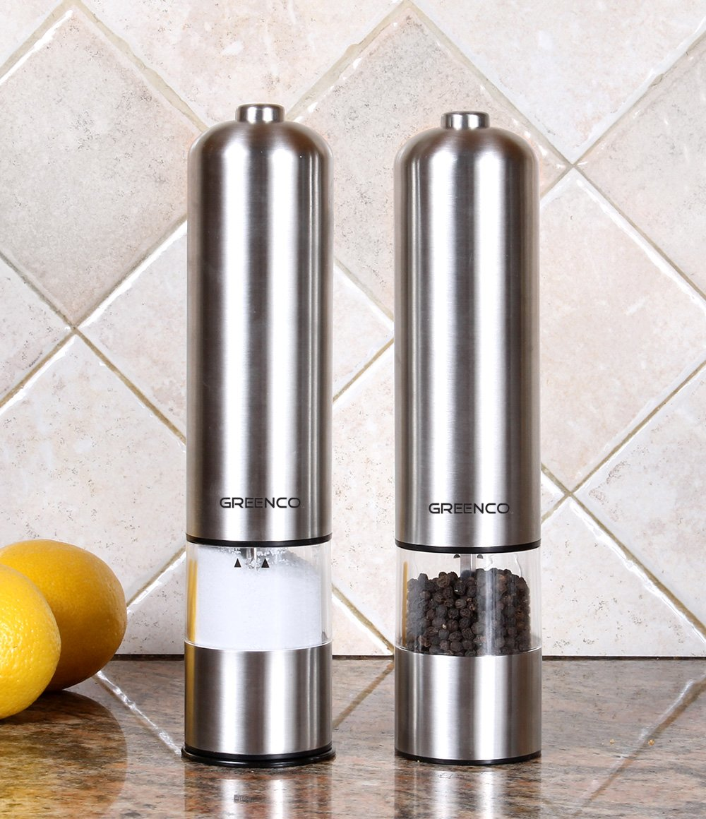 greenco automatic electric pepper mill and salt grinder. Black Bedroom Furniture Sets. Home Design Ideas