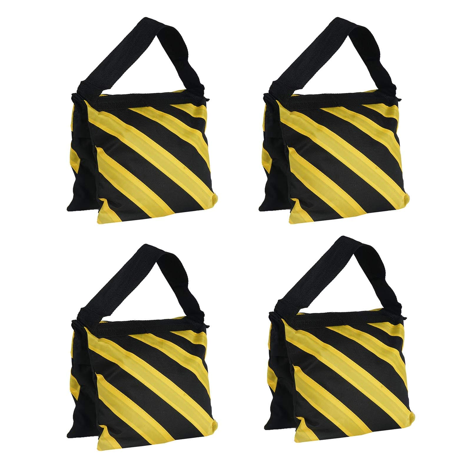 Efavormart 4 Pack Heavy Duty Double Zipper Nylon Sand Weight Saddle Bag for Light Backdrop Stands Tripods - Yellow/Black by Efavormart.com