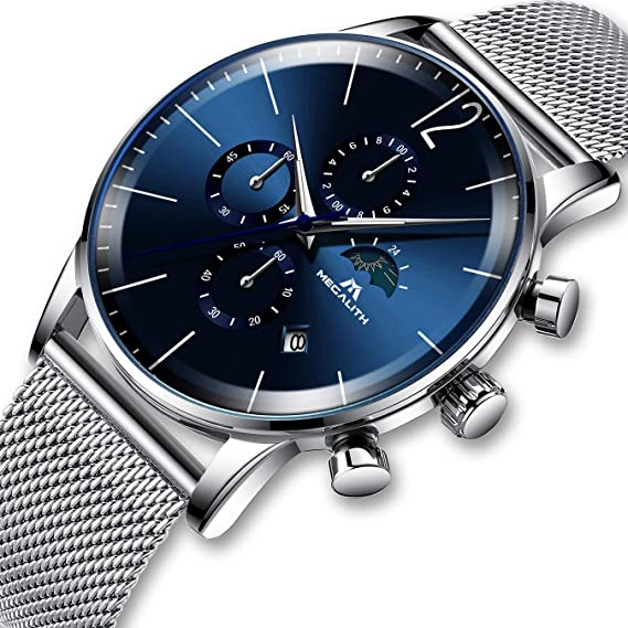Relojes Hombres Relojes de Luxe Cronógrafo Impermeable Malla de Cuarzo  analógica Esfera Azul Relojes de Business Fecha Calendario Moonphase de Moda  Sports ... 3d96d7e24e01