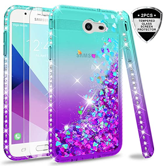size 40 2470e cecae Samsung Galaxy J3 Prime/ J3 2017/ J3 Eclipse/ J3 Emerge/J3 Mission/J3 Luna  Pro/Express Prime 2/Amp Prime 2 Glitter Case w/Tempered Glass Screen ...