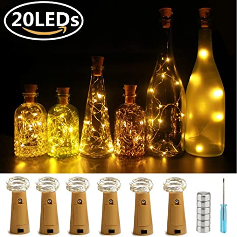 6 pieza Blanco Cálido 20 LED Luz botella, ultra Bright Cobre cuerda Starry Cork Lights