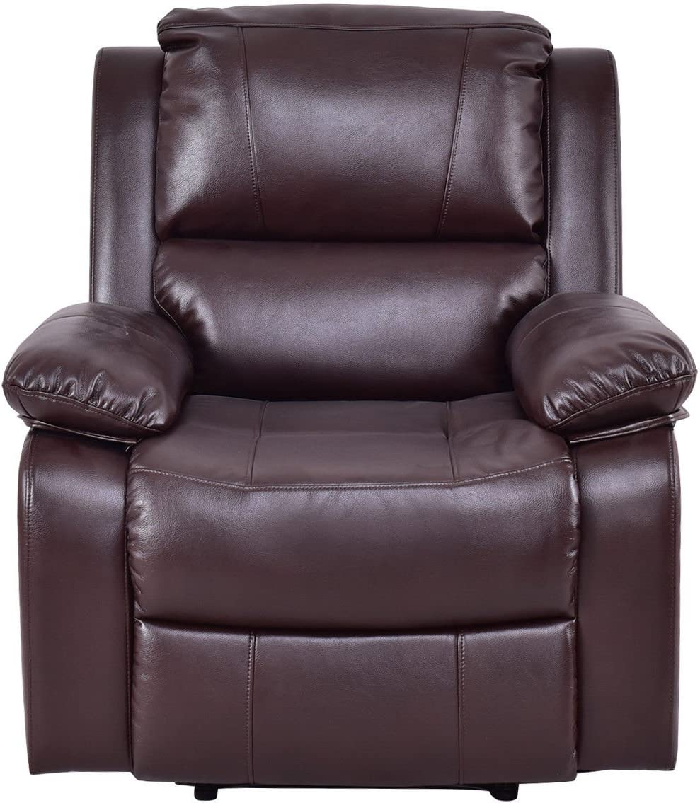 Brown Ergonomic Recliner Sofa Chair Breath Leather PU Lounge Capacity 330 Lbs w Detachable Armrests