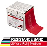 TheraBand Resistance Band 22m Roll, Medium Red Non-Latex Professional Elastic Bands For Upper & Lower Body Exercise Workouts, Physical Therapy, Pilates, Rehab, Dispenser Box, Beginner Level 3