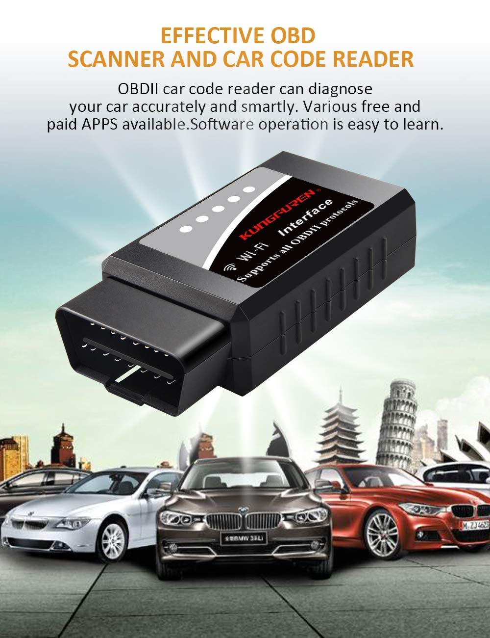 kungfuren OBD2 Bluetooth Scanner OBD 2 Reader Car OBD Diagnostic Scanner Fault Code OBD ii OBD-ii Reader Tool Compatible with Android /& Windows Devices