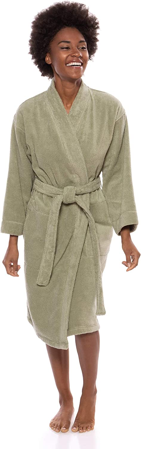 Texere Women's Organic Cotton Terry Robe - Slim Fit Bathrobe for Her (Megeve)