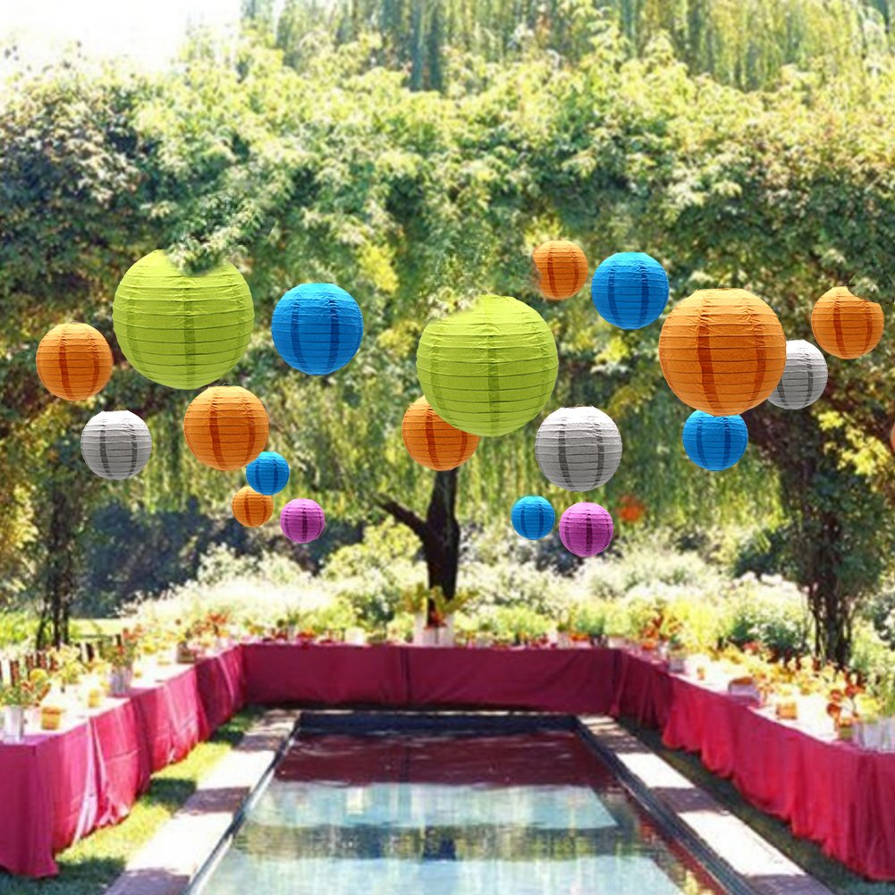 ADLKGG Round Hanging Paper Lanterns Decorations 9 Pack Party Wedding Birthday Baby Showers Halloween Supplies 8 Black 12,10