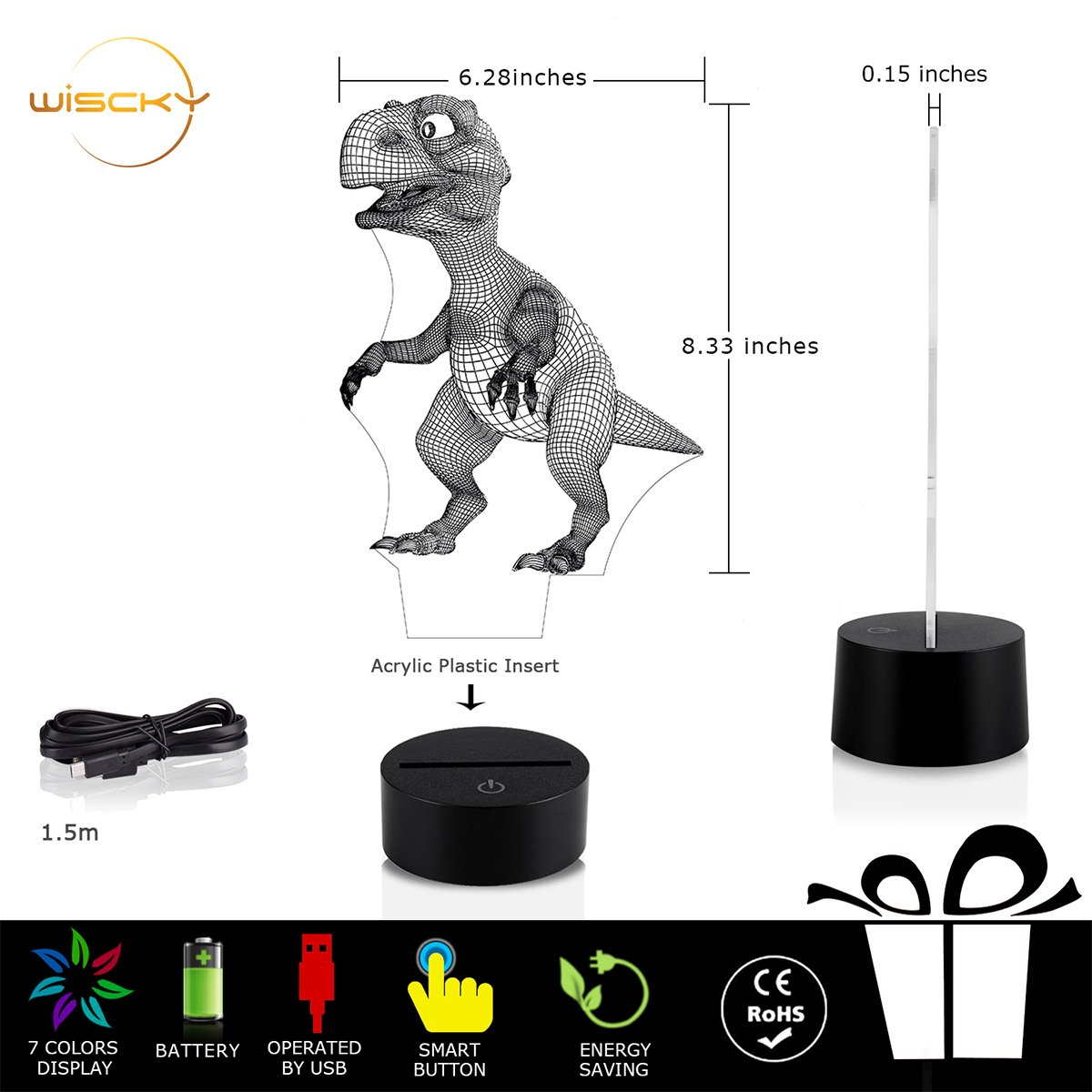 3D Night Lights for Children, Kids Night Lamp, Dinosaur Toys for Boys, 7 LED Colors Changing Lighting, Touch USB Charge Table Desk Bedroom Decoration, Cool Gifts Ideas Birthday Xmas for Baby Friends