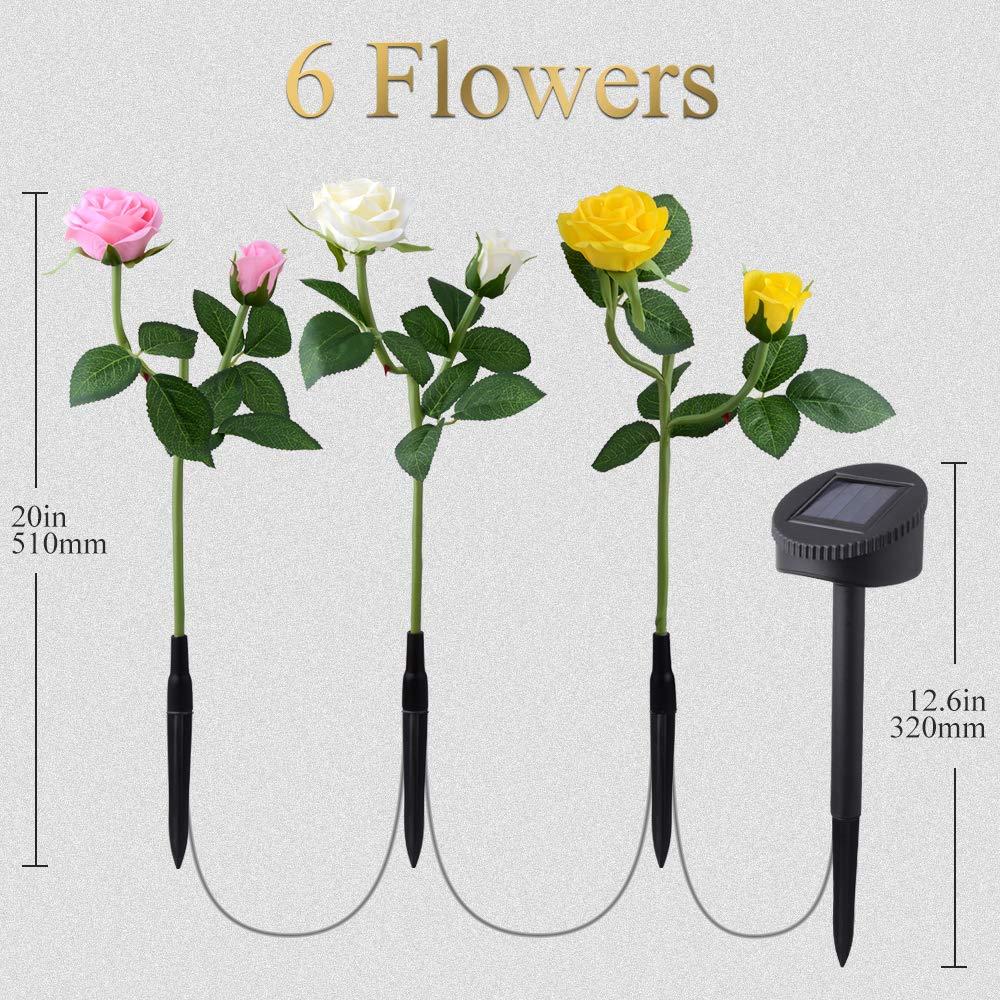 CCJK-3-Pack-Solar-Garden-Lights-Outdoor-Decorative-Rose-Flowers-LED-Lights-Waterproof-Solar-Stake-Lights-with-6-Rose-Flowers-for-Garden-Patio-Backyard-Decorations-WhitePinkYellow