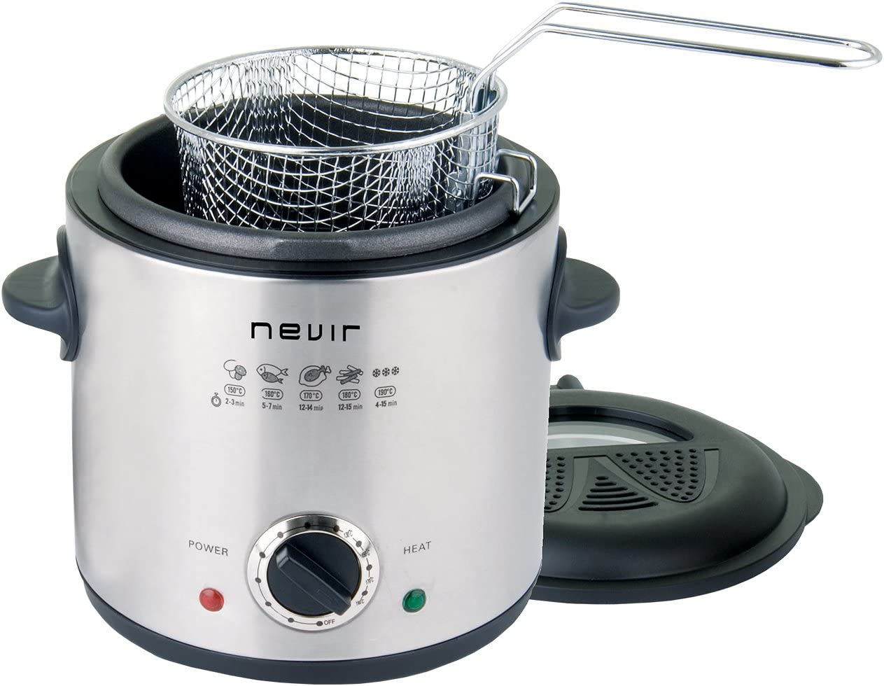 Nevir NVR-6516 F Solo Independiente 1L 900W Negro, Acero inoxidable - Freidora (1 L, 130 °C, 190 °C, Solo, Negro, Acero inoxidable, Giratorio): Amazon.es: Hogar