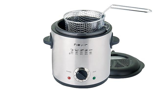 Nevir NVR-6516 F Solo Independiente 1L 900W Negro, Acero inoxidable - Freidora (1 L, 130 °C, 190 °C, Solo, Negro, Acero inoxidable, Giratorio): Amazon.es: ...