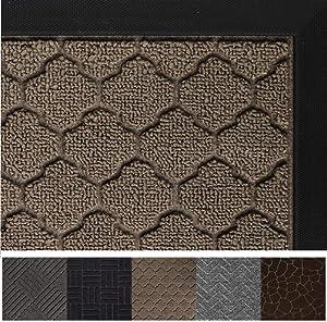 Gorilla Grip Original Durable Rubber Door Mat, 47 x 35, Heavy Duty Doormat for Indoor Outdoor, Waterproof, Easy Clean, Low-Profile Rug Mats for Entry, Patio, High Traffic Areas, Beige Quatrefoil