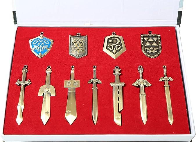 Leyenda de Zelda teclas enlace escudo espada armas collar Cosplay Props: Amazon.es: Joyería