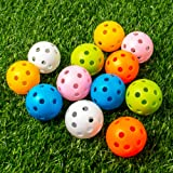 THIODOON Practice Golf Balls Limited Flight Golf Balls 40mm Hollow Plastic Golf Training Balls Colored Airflow Golf…