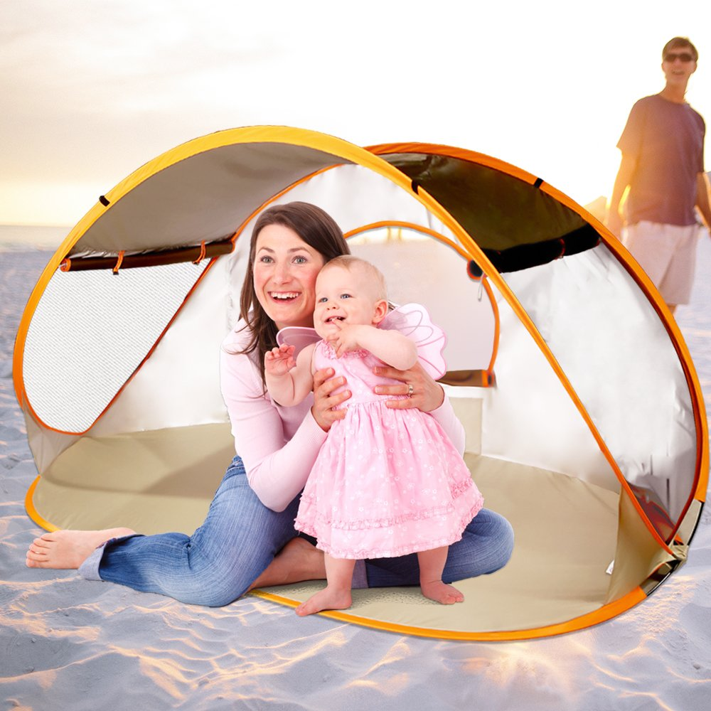 ZOMAKE Baby Beach Tent, SPF 50+ Pop Up Beach Tent Portable Sun Shelters Easy Setup for Baby and Family(Brown) by ZOMAKE