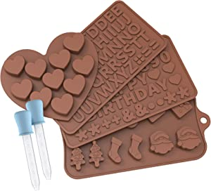 MOSONTH Silicone Chocolate Candy Molds, Valentines Day Party Jelly Molds Ice Cube 4Pcs, for Cake Decoration Symbols with 2 Dropper