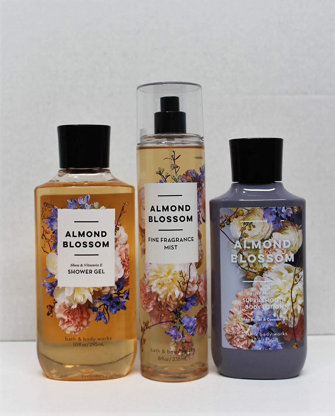 Bath and Body Works - Almond Blossom - Shower Gel, Body Lotion, Fine Fragrance Mist Daily Trio Summer 2018