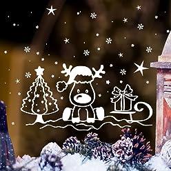 Wandtattoo Loft Fensterbild Weihnachten Schlitten Elch Trolle Sterne Fensteraufkleber Winter wiederverwendbar
