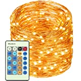 LED Copper Wire Lights 99ft/30m 300 LED Light String Dimmable with Remote Control, Waterproof Starry Lights for DIY Bedroom, Outdoor, Garden, Party, Wedding, Patio, Fairy Tale (Warm White)