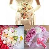6 Pcs Wedding Bridal Bouquet White Lace Collar Decoration Bouquet Holder,9.8-Inch