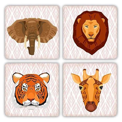 Animales Salvajes Leon Elefante Tigre Jirafa Piedra Bebida Juego