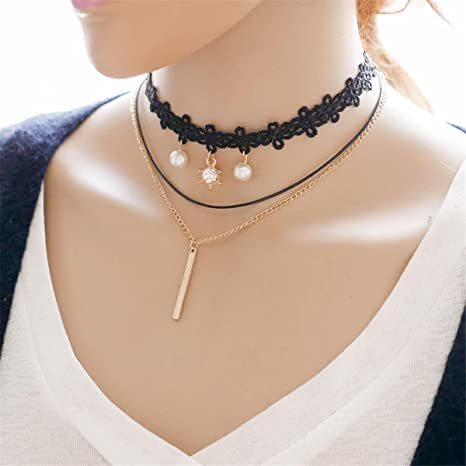 Alloy Fringed Gothic Collar Charm Jewelry Pendant Chain Necklace Choker Velvet