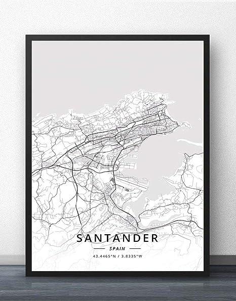 ZWXDMY Impresión De Lienzo,España Santander Mapa De La Ciudad Moderno Negro Blanco Pintura Simple Arte Minimalista Mural Cartel Sala De Estar Vertical Café Decoración, 70 × 100 Cm: Amazon.es: Hogar