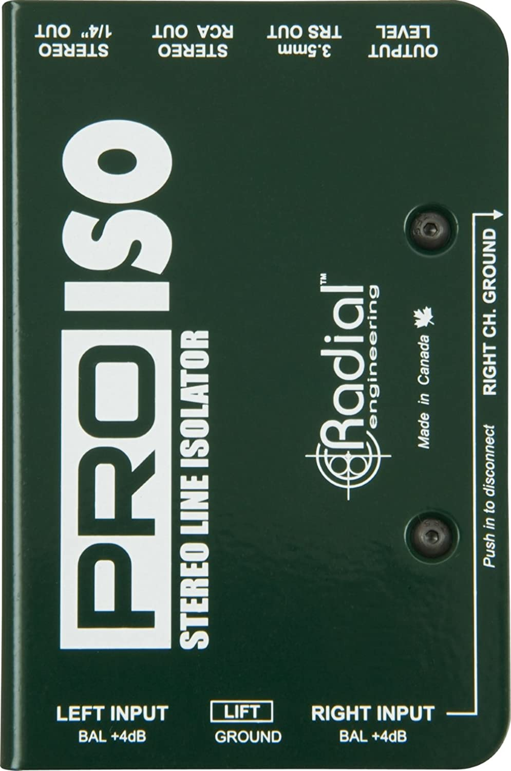 Radial Engineering PRO ISO Stereo Line Isolator +4dB to -10dB with Radial Transformer