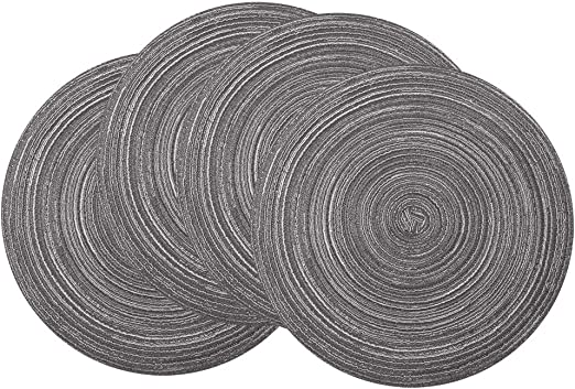 Heat and Stain Resistant Kitchen Washable Large Size Placemats JOYEAR Round Woven Cotton Braided Insulation Mat,Multi-Color Non-Slip Coaster Table Place Mats for Dining Pack of 4 Dark Grey-Round