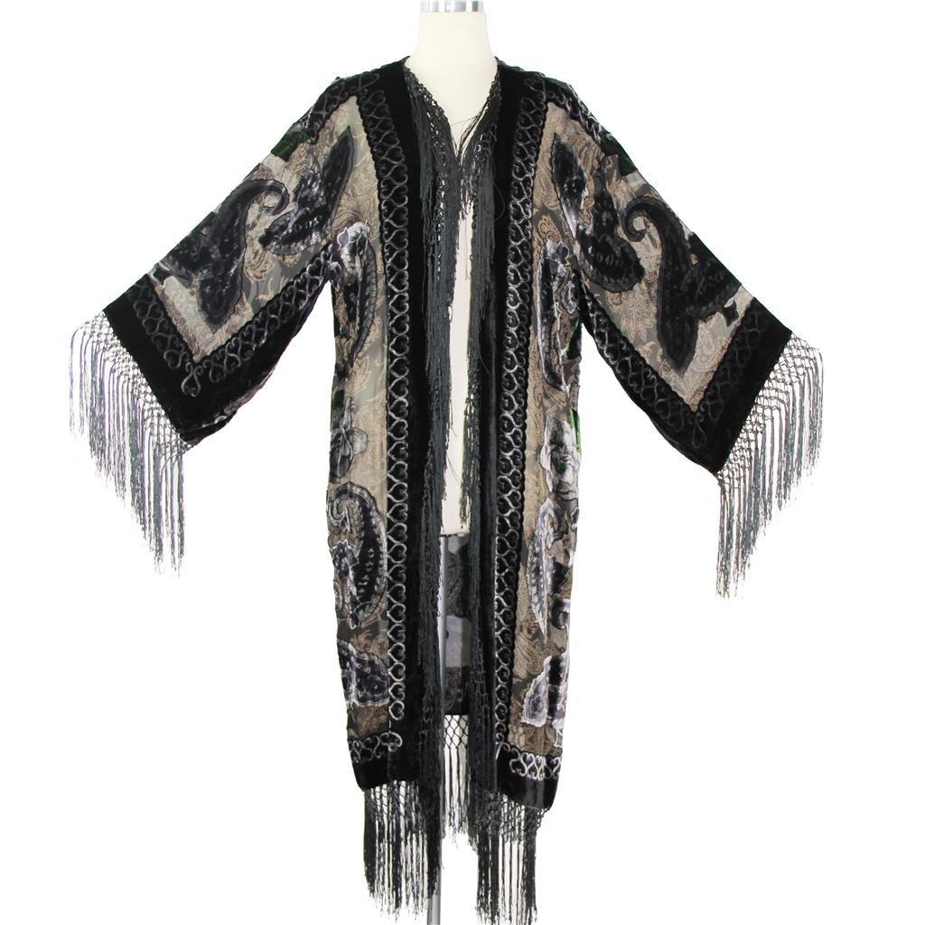 Aris A Women 100% Silk Velvet Burnout Paisley Print Kimono