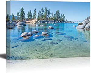 "wall26 - Canvas Prints Wall Art - Beautiful Blue Clear Water on The Shore of The Lake Tahoe | Modern Wall Decor/Home Decoration Stretched Gallery Canvas Wrap Giclee Print. Ready to Hang - 24"" x 36"""