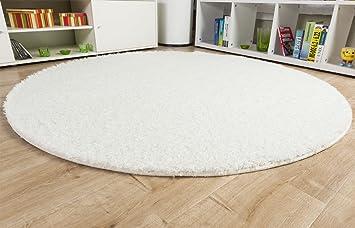 Teppich rund 180 cm  Hochflor Langflor Teppich Loredo weiß rund nach Maß ...