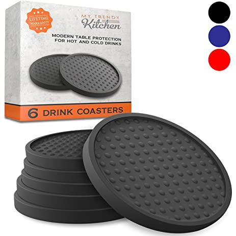 Drink Coasters Silicone 6 Pack with Good Grip on any Table or Bar Prevents Furniture  sc 1 st  Amazon.com & Amazon.com   Drink Coasters Silicone 6 Pack with Good Grip on any ...