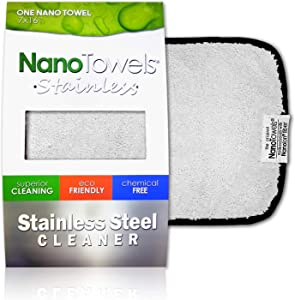 "Nano Towels Stainless Steel Cleaner | The Amazing Chemical Free Stainless Steel Cleaning Reusable Wipe Cloth | Kid & Pet Safe | 7x16"" (1 pc)"