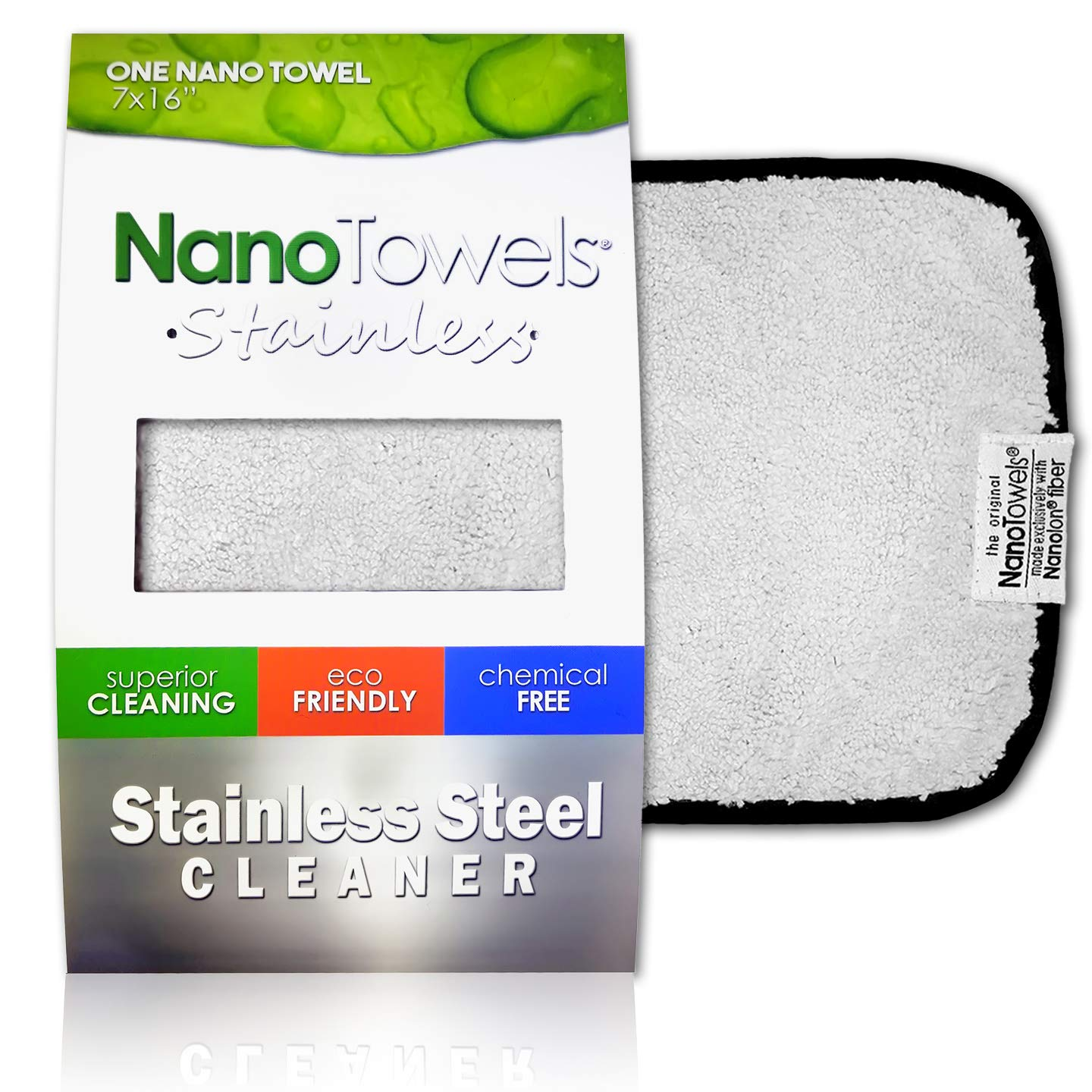 Nano Towels Stainless Steel Cleaner   The Amazing Chemical Free Stainless Steel Cleaning Reusable Wipe Cloth   Kid & Pet Safe   7x16'' 1 Ct.