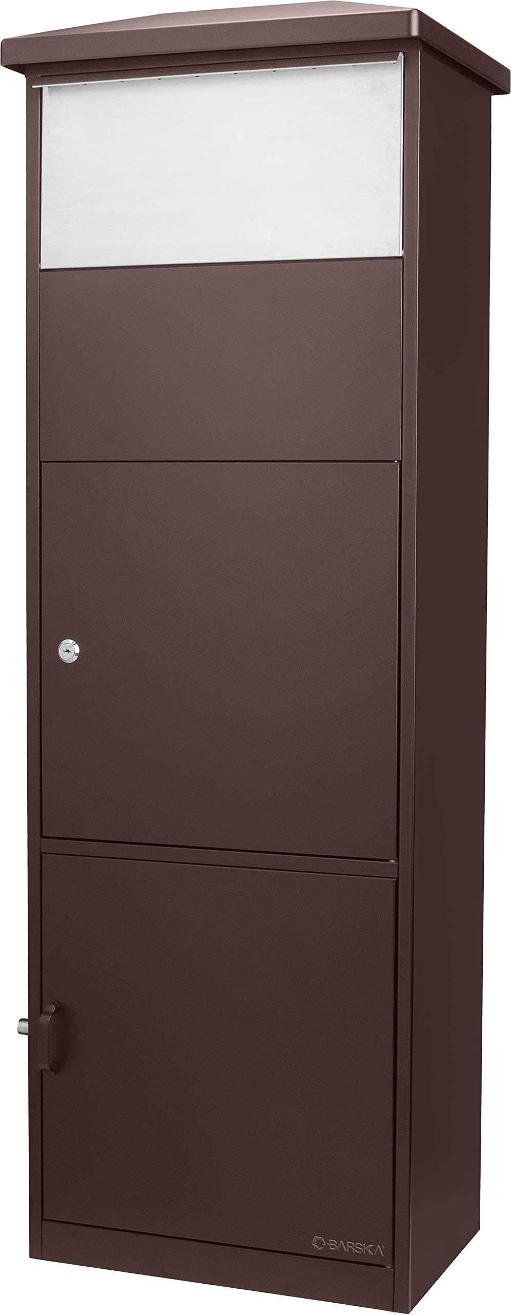 Barska Steel Freestanding Floor Lockable Large Drop Slot Mail Box Safe with Parcel Compartment, (Brown)