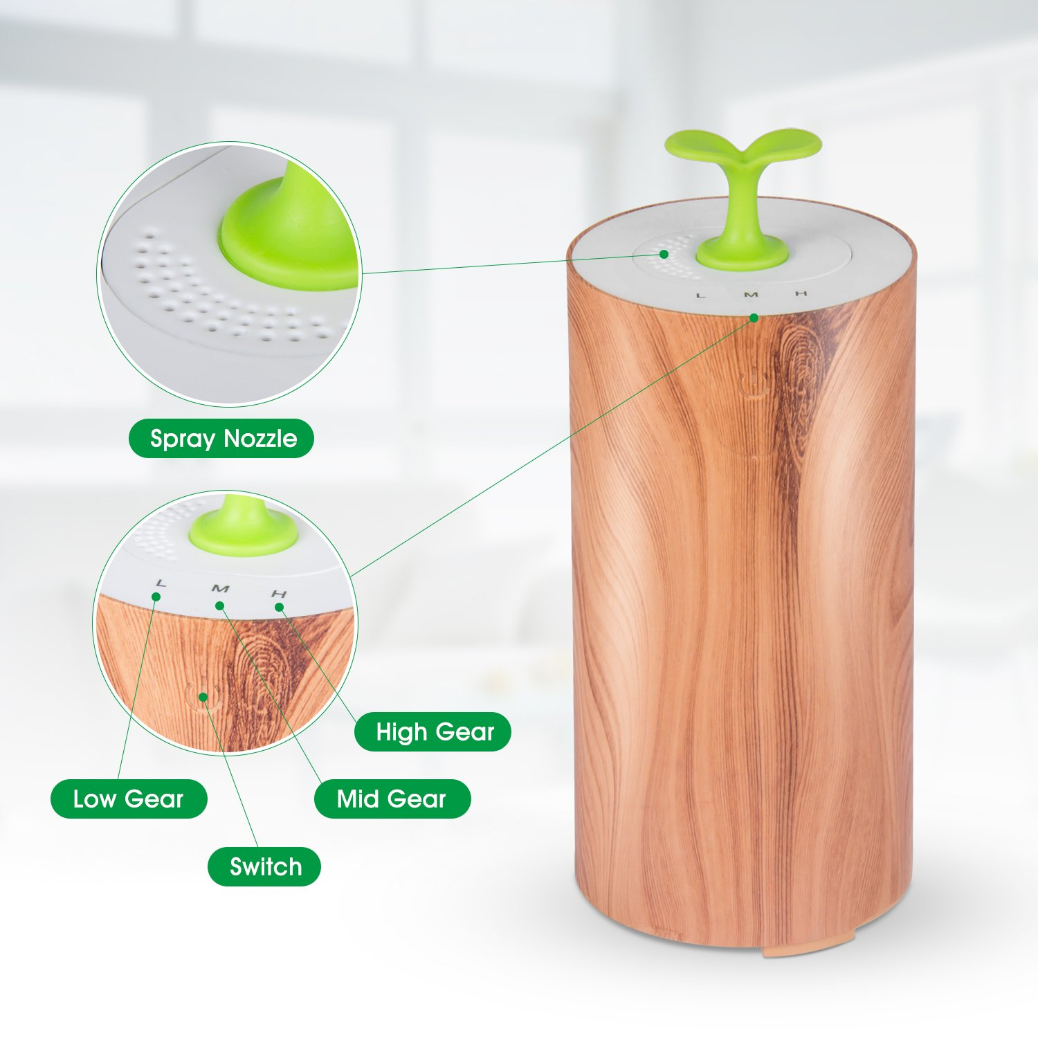 Essential Oil Diffuser for car, Bbymie Essential Oil Diffuser waterless Mini Oil Diffuser Wood Grain Aromatherapy just for car or Small Room by Bbymie (Image #6)