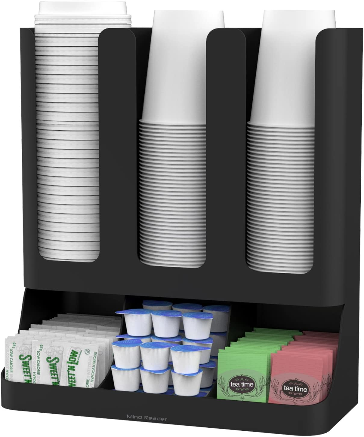 Mind Reader 6 Compartment Upright Breakroom Coffee Condiment And Cup Storage Organizer Black Amazon Co Uk Kitchen Home