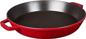 STAUB 1314006 Cast Iron Double Handle Fry Paella Pan, 15-inch, Cherry